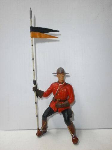 alte Kunststoff-Figur zu 10cm Mountie Canadier Polizist Reiter Hausser Elastolin