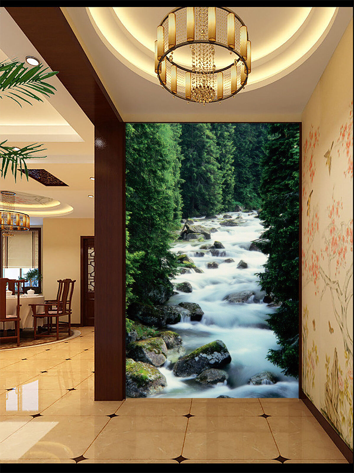 3D Jungle.Ruisseau Photo Papier Peint en Autocollant Murale Plafond Chambre Art