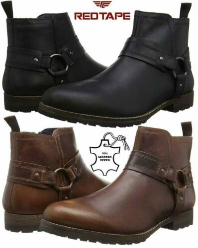 Mens Leather Ankle Cowboy Biker Boots New Chelsea Western Riding Harness Shoes