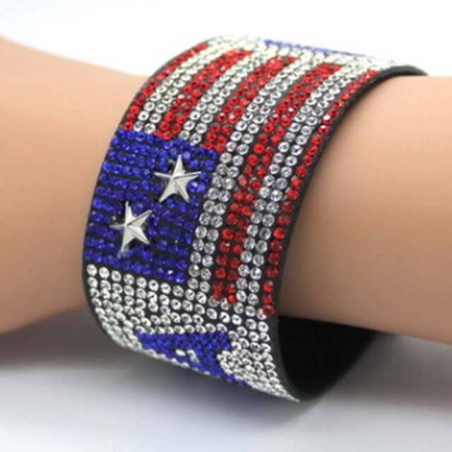 USA flag Alloy Rhinestone Bracelet Hip Hop Patriotic Jewelry American Z