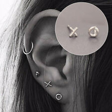 Women Tiny O&X Earrings Silver Plated Circle Cross Ear Stud Small Cute Ear Cuff