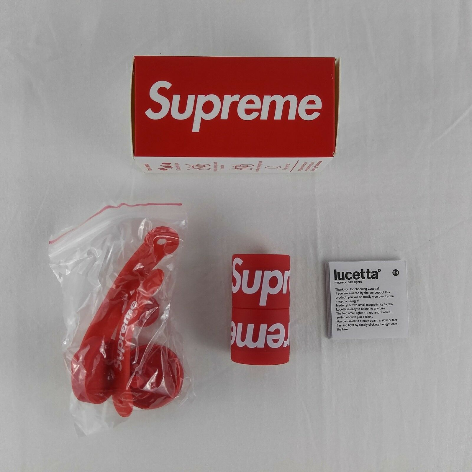 Supreme x Lucetta Magnetic Bike Lights Red FW18 Weather Resistant LED Lights NEW
