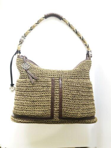 Brighton Slouchy Tan Woven Crochet Leather Embelli