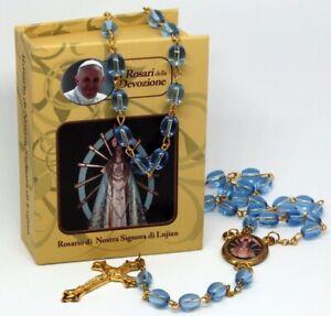 ROSENKRANZ-Blau-Taufe-Kommunion-KREUZ-Kette-MARIA-Jesus-GOTT-HALSKETTE-in-Box