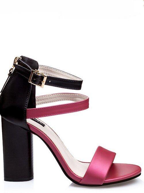 Sandale quadrato eleganti 9.5 cm nero rosa simil pelle eleganti 8980