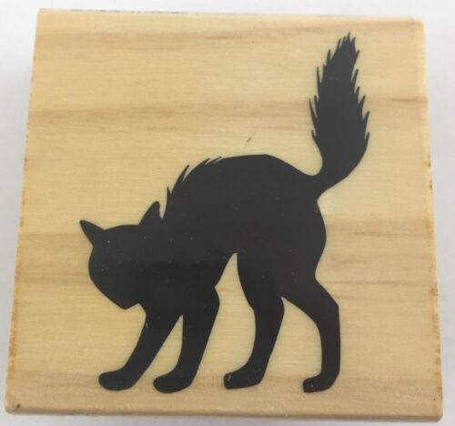 "Craft Smart Black Cat Silhouette Halloween Wood Rubber Stamp 2x2/"""