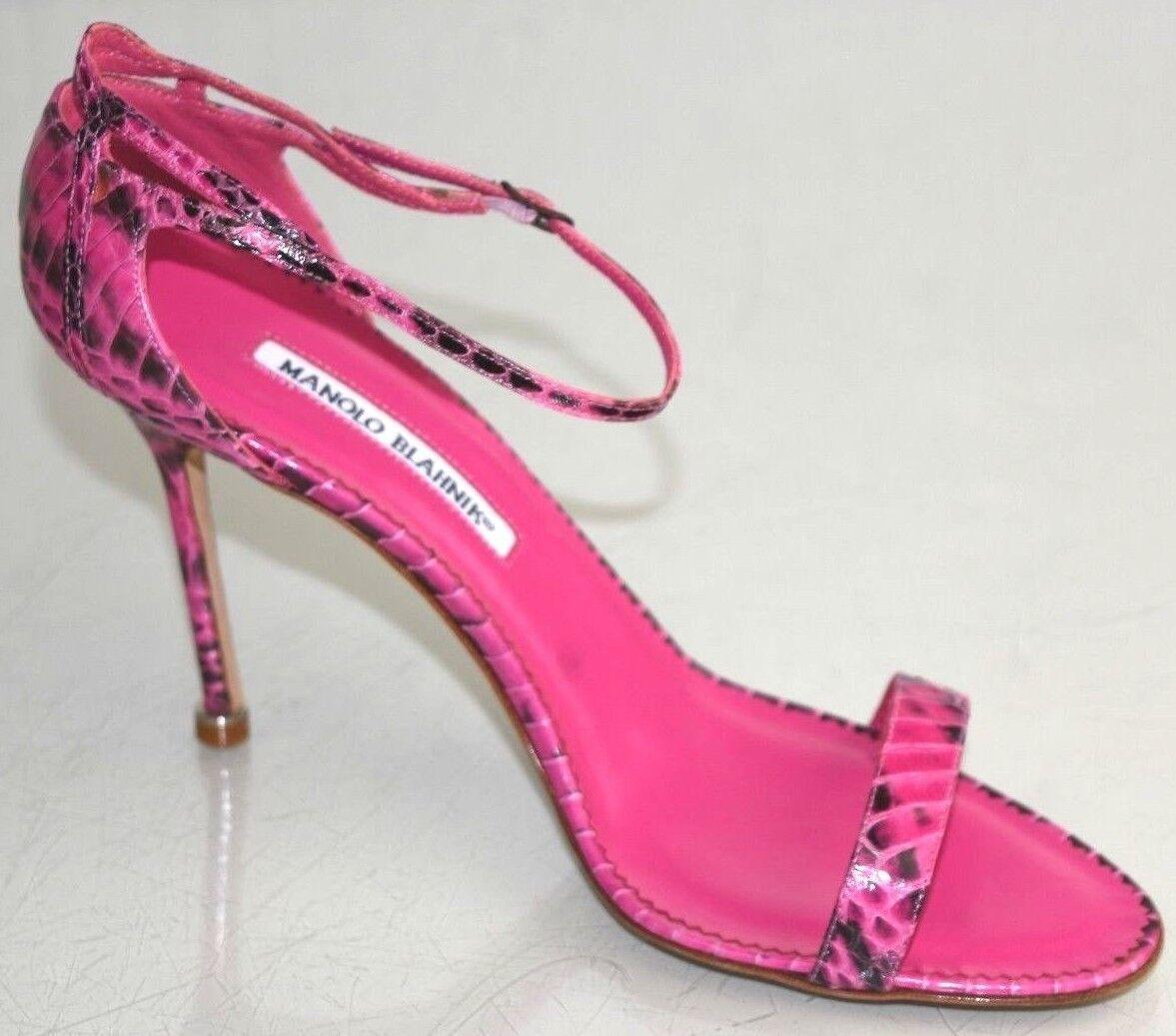975 New Manolo Blahnik PARI Pink EXOTIC EXOTIC EXOTIC Snakeskin Strappy Sandals shoes 40.5 26de00