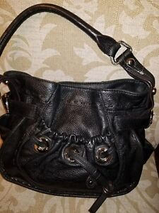 958b32e2ec57 Image is loading B-makowsky-black-leather-purse-handbag-bag