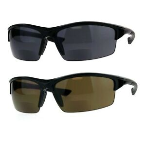 d5b1388ebed1 Mens Baseball Half Rim Warp Sunglasses With Bifocal Reading Lenses ...