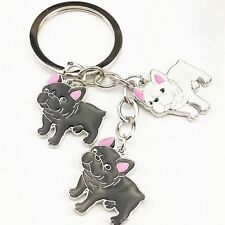 Cute French Bulldog Lovers Key Chain or Purse Charm 3 Bulldogs 2 Colors