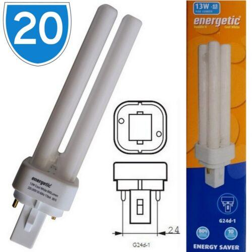 20x Energetic CFL Low Energy Saving G24d-1 13w Cool White 4200k Light Bulb 2 Pin