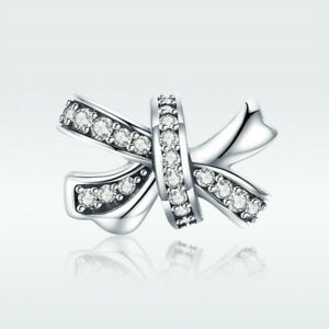 925-Sterling-Silver-Charm-Bead-Sweet-Bow-knot-with-CZ-For-Elegant-Lady-Bracelet