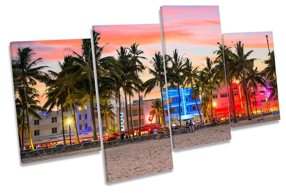 Miami Beach Ocean Drive Framed MULTI CANVAS PRINT Wall Art