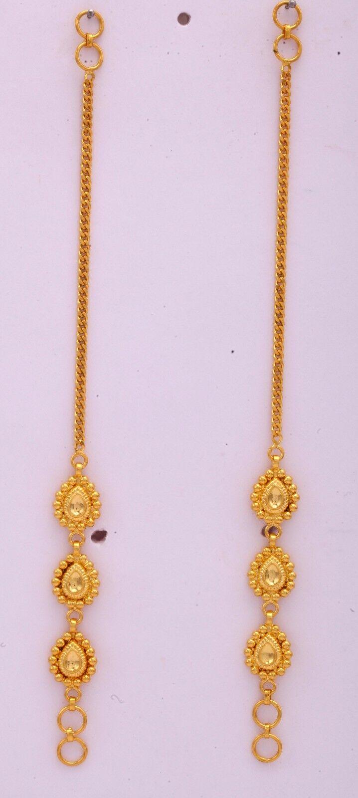 gold EAR CHAIN 22K gold EARRINGS CHAIN TO WEAR WITH EARRING  STUD WEDDING GIFT