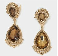 "2.75"" Brown Gold Long Rhinestone Crystal Pageant Dangle Earrings Clip On"