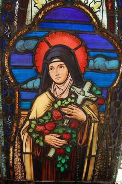 """+Fine Older Stained Glass Window """"St Therese Inf. Jes""""+"""