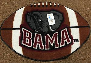 """University of Alabama Football Shaped Rug with """"Bama"""" and Elephant"""