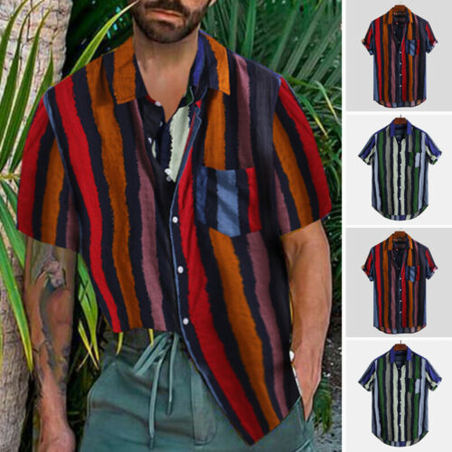 Men/'s Hawaiian Floral T Shirt Summer Short Sleeve Beach Party Casual Tops Blouse
