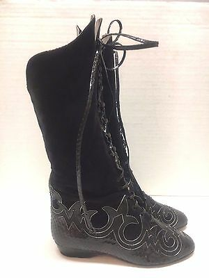 ANDREA PFISTER LORD & TAYLOR Vtg Black Suede Lace-up Knee High Boots Sz 5.5