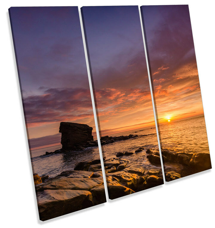 Collywell Bay Sunset Northumberland TREBLE CANVAS WALL ART Square Picture Print