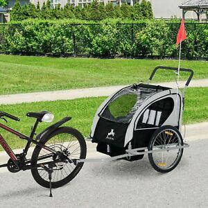 Aosom Elite Double Baby Bike Trailer Stroller - Child Bicycle Kids Jogger Black