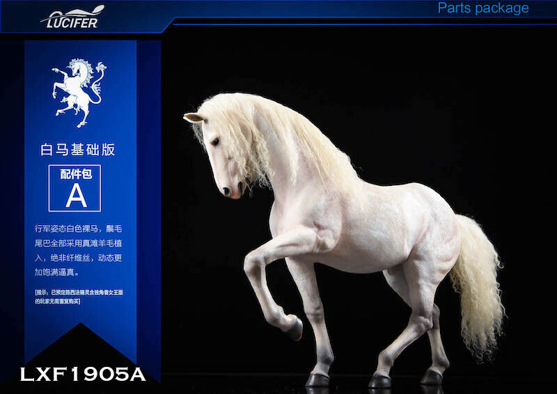 1 6 Scale LUCIFER LXF1905A The white Horse Animal Model Toy Collectible Gift
