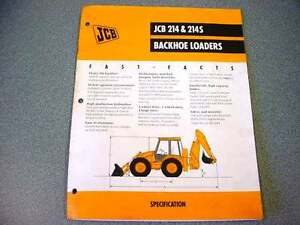 JCB 214 & 214S Tractor Loader Backhoe 8 Pages Brochure