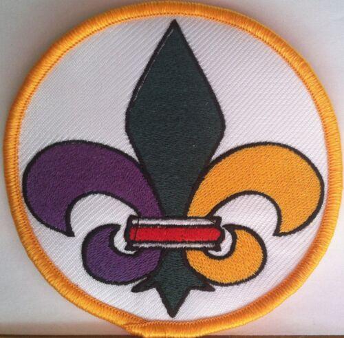 Mardi Gras Fleur De Lis Embroidery Iron-On Patch Biker Emblem Gold Border