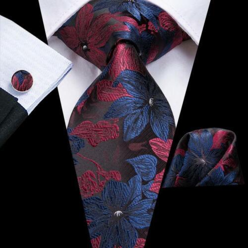 Red Blue Floral Mens Fashion Silk Tie Necktie Set Handkerchief Cufflinks Wedding