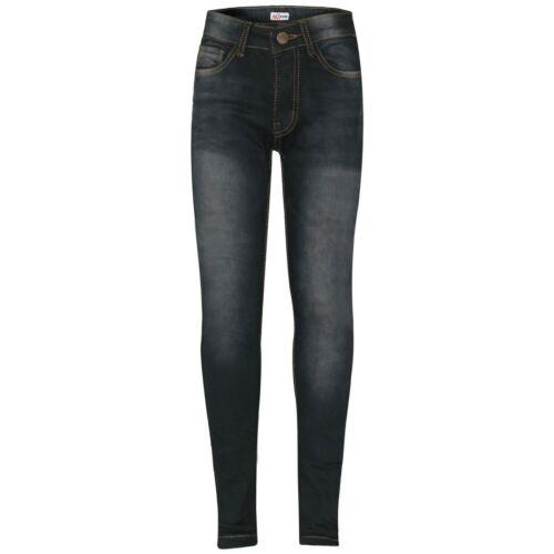 Kids Boys Skinny Jeans Designer Denim Black Stretchy Pants Fit Trouser 5-14 Yrs