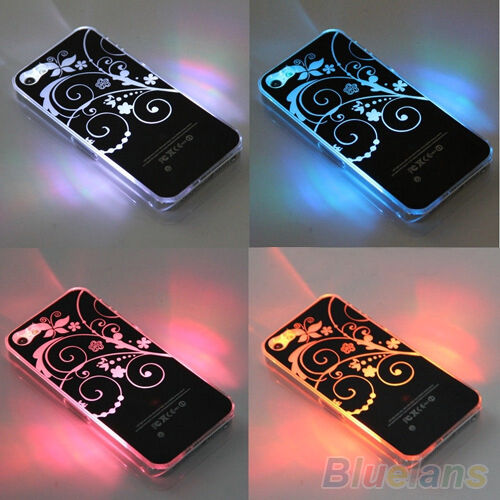 LUXURY FANCY FLASH LED COLOR CHANGE LIGHT FLOWER CASE COVER FOR IPHONE 4 4S 5 5S