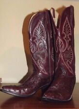Used Ladies 8 A Custom Hondo Cowboy Boots Ostrich Foot Leather Stitched Upper