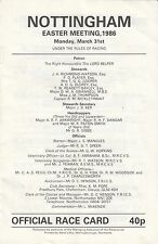 Racecard - Nottingham 31st March 1986 Easter Meeting