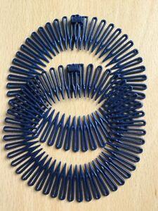 Un Pacco Doppio Di Blu Navy Zig Zag Squalo Denti Testa / Elastici per Capelli
