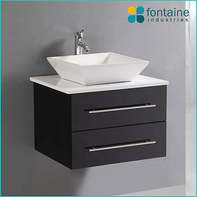 Bathroom Vanity Black Wall Mounted Hung Ceramic Basin Stone Top 600 Modern