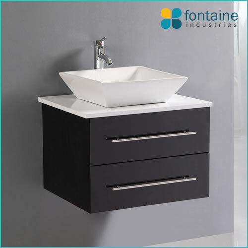 Bathroom Vanity Black Wall Mounted Wall Hung Ceramic Basin Stone Top 600 Modern