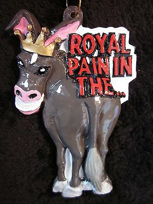"""CROWNED """"ROYAL PAIN IN THE ...""""  ASS DONKEY MULE MARDI GRAS NECKLACE BEAD (B459)"""