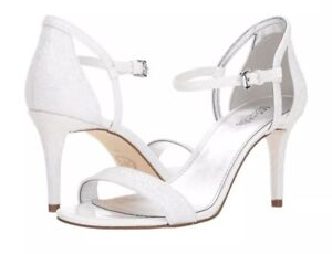 7c14366c9b73 Michael Kors MK Simone Glitter Fabric Mid Optic White Sandals Heels ...