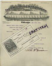 1912 LETTER Chicago ILLinois TENT AWNING Edward Neumann WALTER DRIVER Litzinger