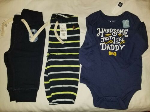 New toddler boy Baby Gap 6-12 month sweatpants X2 stripped  blue Logo outfit set
