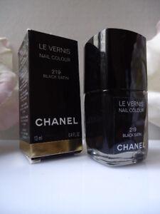 219-BLACK-SATIN-CHANEL-LE-VERNIS-NAIL-COLOUR-BRAND-NEW-BUT-BOX-NOT-QUITE-MINT-CO