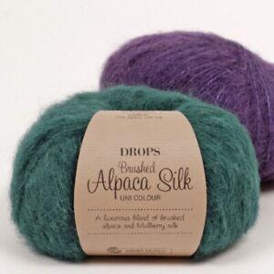 DROPS-BRUSHED-ALPACA-SILK-77-BABY-ALPACA-23-SILK-Fluffy-Knitting-Yarn-25g