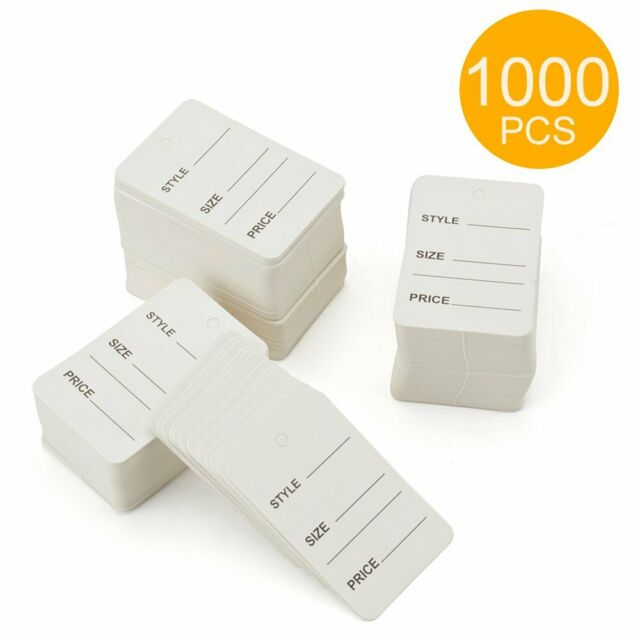 """1000 Pcs White Strung Merchandise Tags #5 New Price Tag 1-1//16/"""" x 1-5//8/"""""""