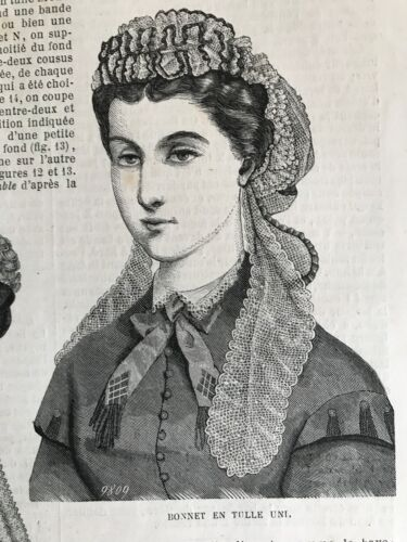 CIVIL WAR ERA  MODE ILLUSTREE SEWING PATTERN Sept 25,1864 BONNETS DRESS APRON