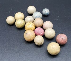 Antique Clay Marbles Lot Of 16 Ebay