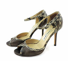 Jimmy Choo Sandale 36  high heels braun beige Reptillook snake pumps