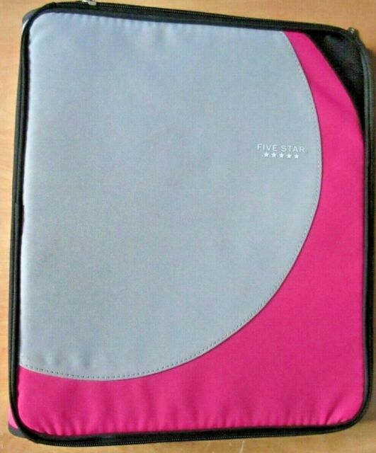 Mead Five Star Zippered Binder 1.5 Inch 3 Ring Pink Gray