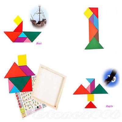 Kid Baby Wooden IQ Game Jigsaw Intelligent Tangram Brain Teaser Puzzle Toy