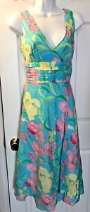 LILLY-PULITZER-Women-s-Dress-Francine-Iris-Shift-Silk-Floral-Pink-Turquoise-Sz-4