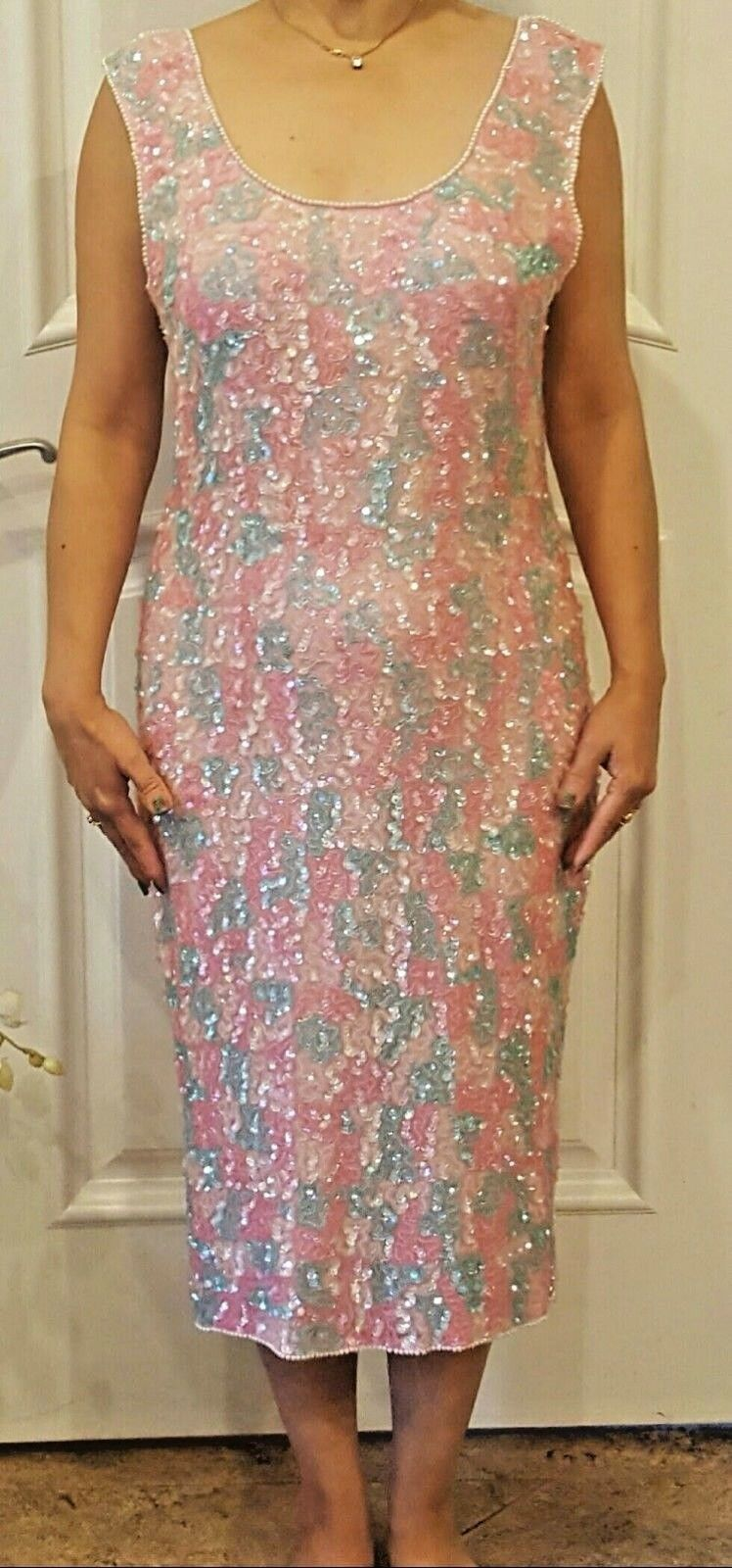 Sequined sleeveless dress party evening wear shiny pink light green hand beaded.